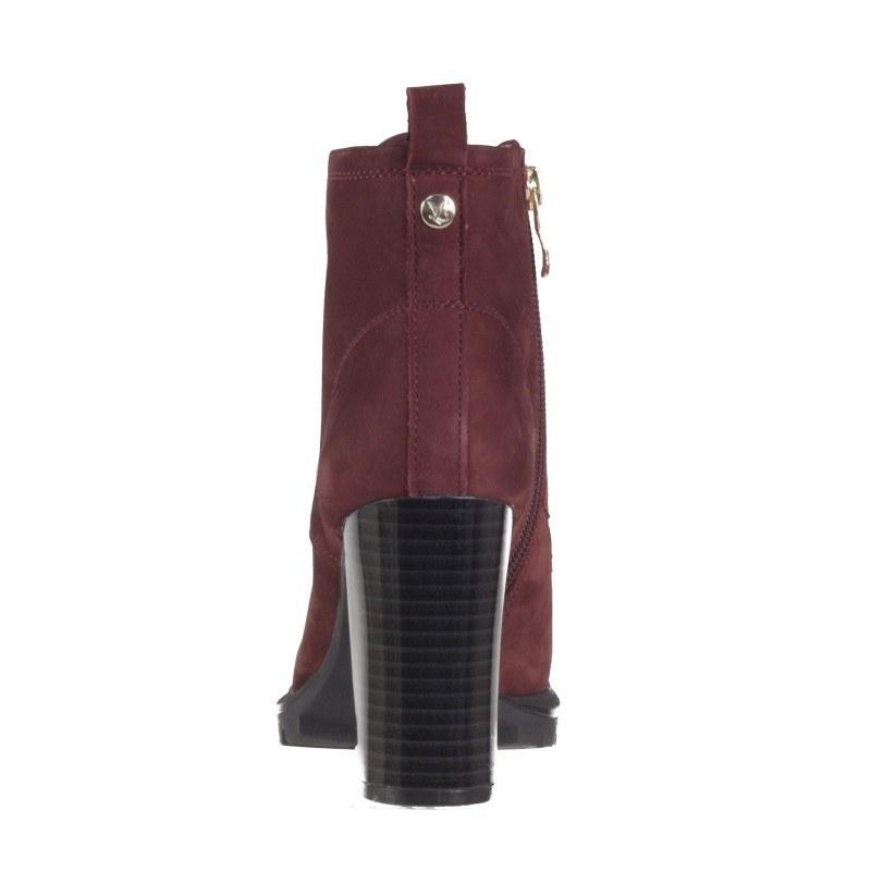 Дамски боти на ток Caprice естествена кожа Premium бордо