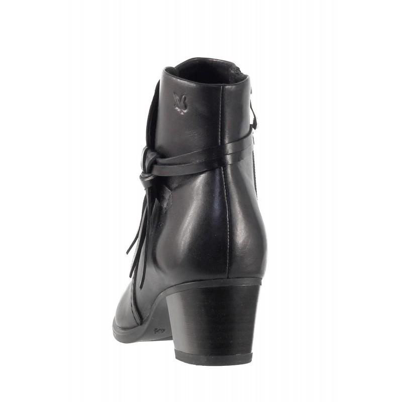 Дамски боти на ток от естествена кожа Caprice черни