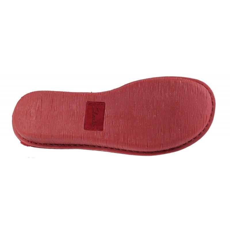 Дамски обувки естествена кожа Clarks Funny Dream червени с връзки