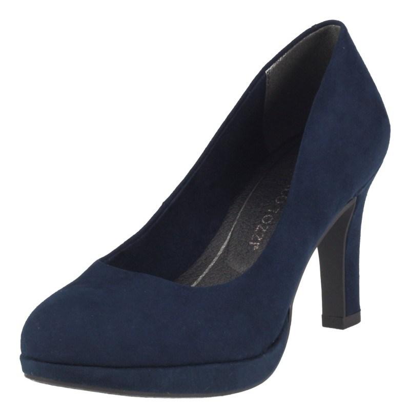 Дамски елегантни обувки на ток Marco Tozzi мемори пяна сини