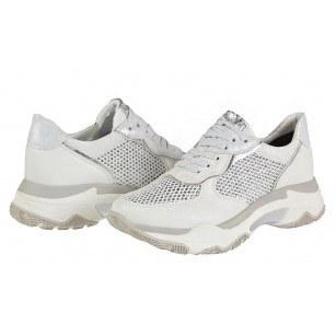 Дамски спортни обувки с връзки Marco Tozzi бели/сребристи