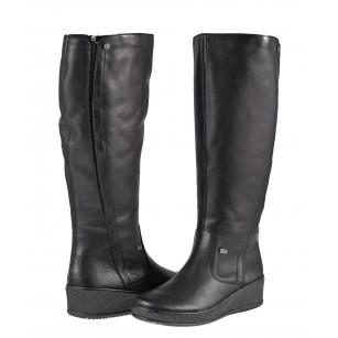 Дамски кожени ботуши с натурална вълна Rieker ANTISTRESS черни Y4460-00
