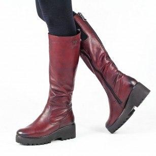 Дамски ботуши с платформа Remonte естествена кожа бордо 9777-35