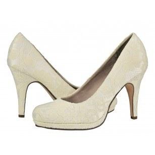Дамски елегантни обувки с дантела Tamaris бели