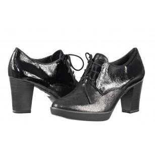 Дамски елегантни обувки на ток с връзки Tamaris естествена кожа черни мемори пяна ANTISHOKK®