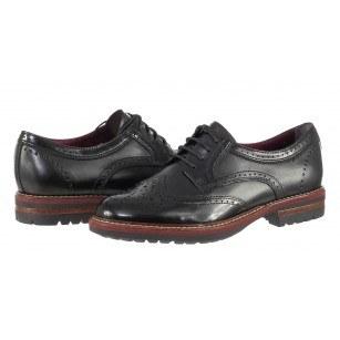 Дамски обувки brogue от естествена кожа Tamaris черни мемори пяна