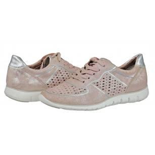 Дамски спортни обувки с връзки Marco Tozzi розов металик