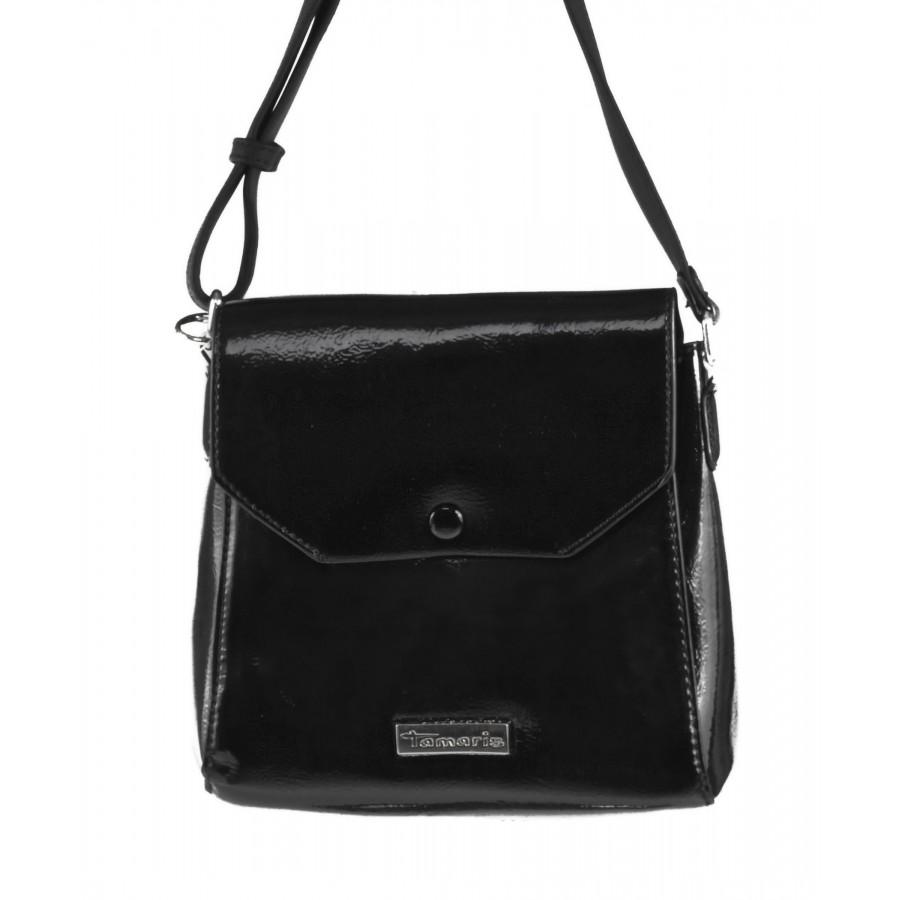 Дамска малка лачена чанта Tamaris черна