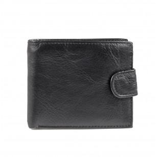 Мъжки портфейл от естествена кожа Cervo Plain черен