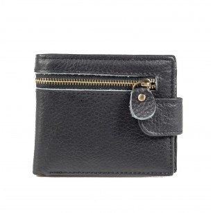 Мъжки портфейл от естествена кожа с цип Cervo Zip черен