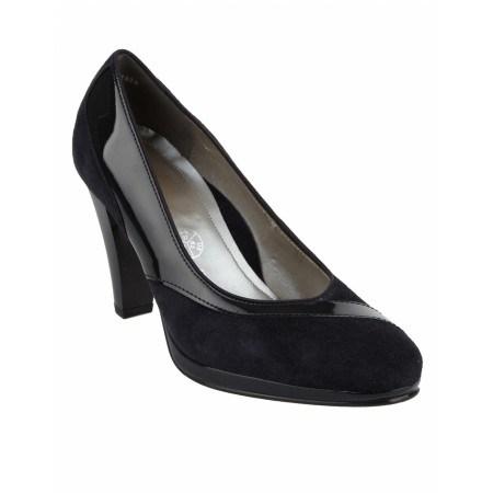 Дамски обувки на ток Ara черен велур и лак