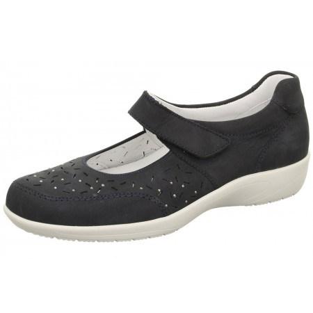 Дамски обувки на платформа Ara естествена кожа сини ширина H