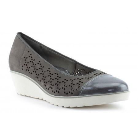 Дамски кожени обувки с платформа Ara сиви с лак