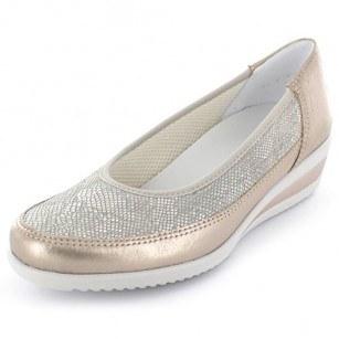 Дамски обувки на платформа от естествена кожа Ara ширина H златисти