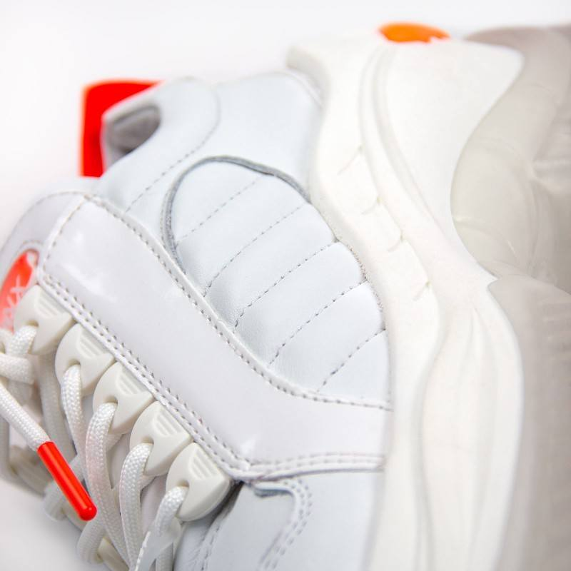 Дамски спортни обувки естествена кожа Bronx Chainy Neon бели