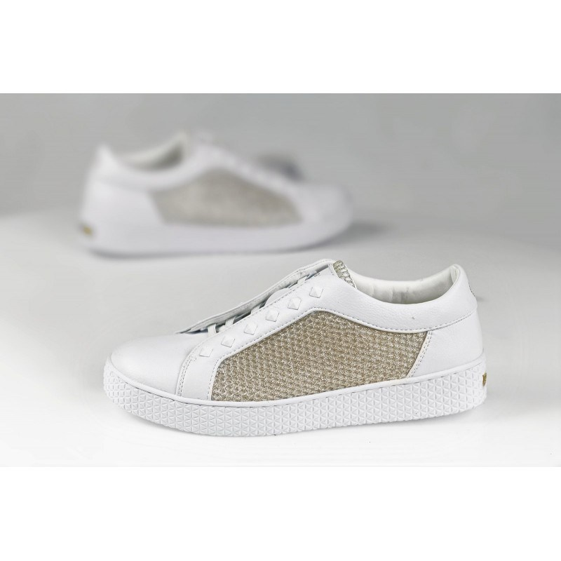 Дамски спортни обувки без връзки Bugatti бели/златисти