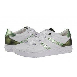 Дамски спортни обувки с връзки Bugatti бели/зелени