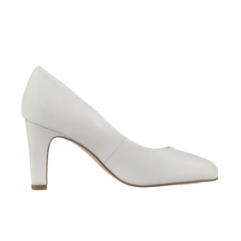 Дамски елегантни обувки на ток Caprice бели естествена кожа