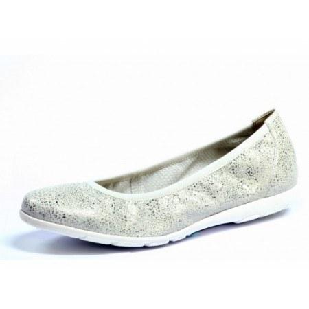 Дамски равни обувки пантофки от естествена кожа Caprice сребристи
