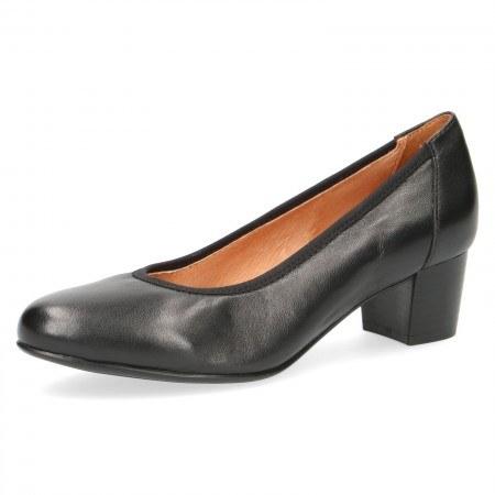 Дамски обувки на ток естествена кожа Caprice черни
