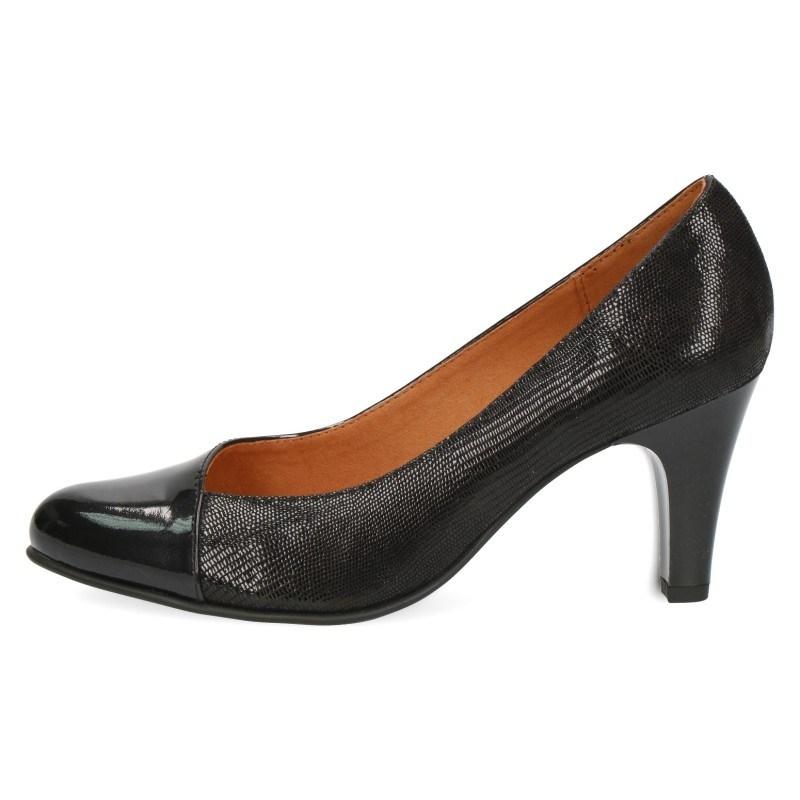 Дамски обувки на ток Caprice естествена кожа черни