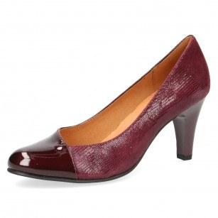 Дамски обувки на ток естествена кожа Caprice бордо