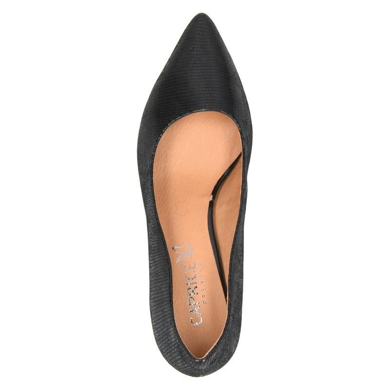 Дамски обувки на среден ток естествена кожа Caprice черни