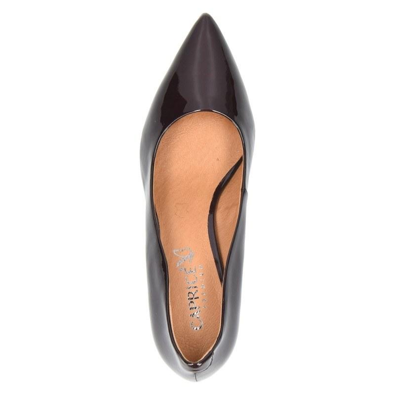 Дамски обувки на среден ток естествена кожа Caprice бордо
