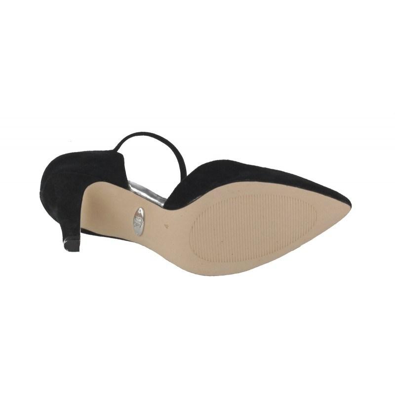Елегантни дамски обувки на ток Caprice черен велур