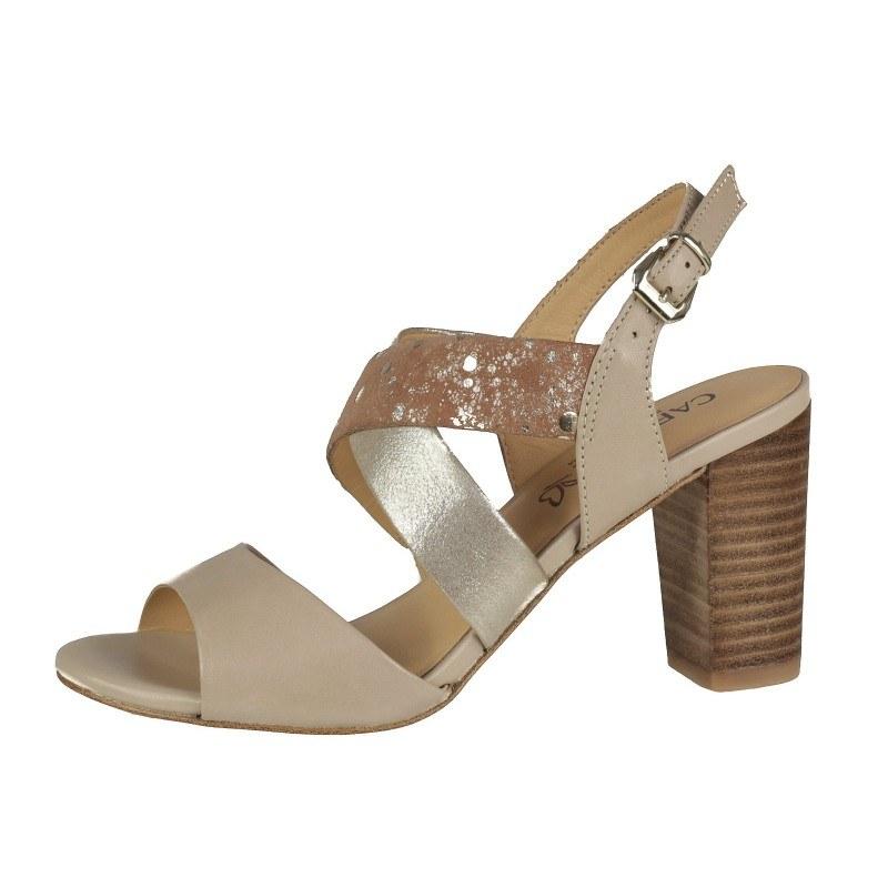 Елегантни дамски сандали от естествена кожа на ток Caprice златисти комбинация