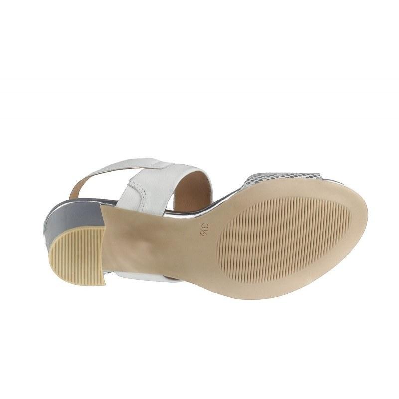 Елегантни дамски сандали от естествена кожа на нисък ток Caprice бели/сребристи