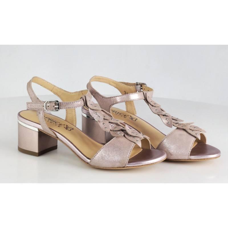 Дамски сандали на нисък ток Caprice розов металик