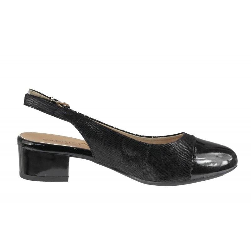 Елегантни дамски сандали от естествена кожа на нисък ток Caprice черен лак ширина H