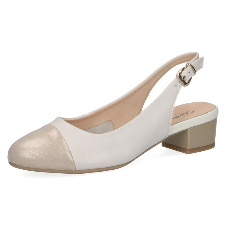 Дамски обувки с отворена пета Caprice бели/златисти H