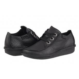 Дамски кожени обувки на платформа Clarks черни  - Funny Dream