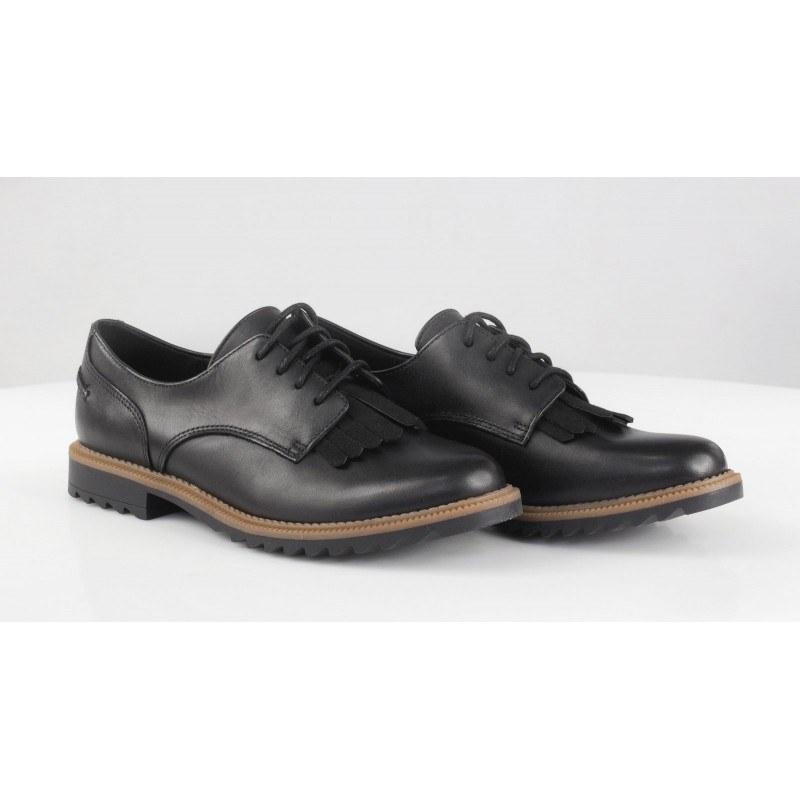 Дамски кожени обувки с връзки Clarks Griffin Mabel черни
