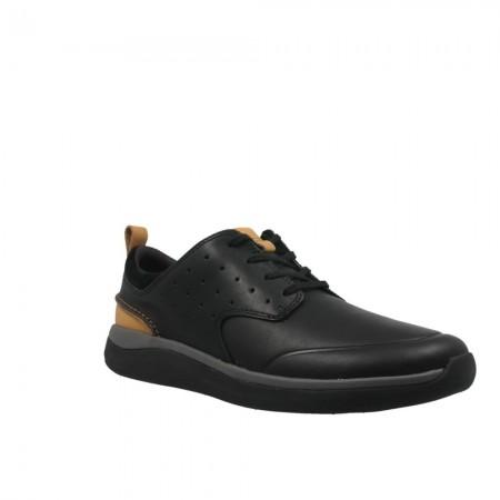 Мъжки обувки от естествена кожа Clarks Garratt Lace черни