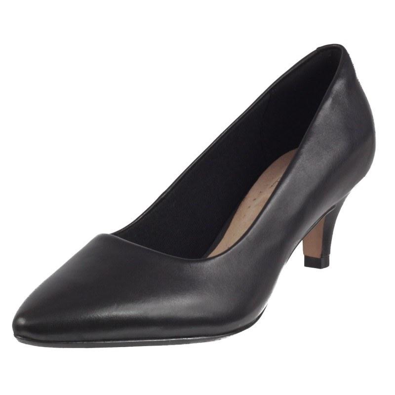 Дамски обувки на нисък ток естествена кожа Clarks Linvale Jerica черни