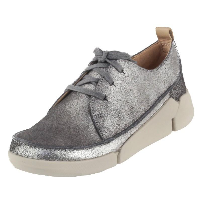 Дамски спортни обувки от естествена кожа Clarks Tri Clara сребристи