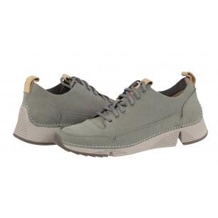 Дамски спортни обувки от естествена кожа Clarks Tri Spark сиви