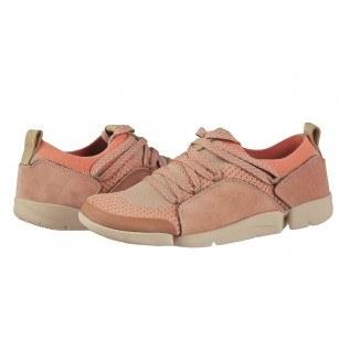 Дамски спортни обувки от естествена кожа Clarks Tri Amelia розови