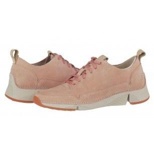 Дамски спортни обувки от естествена кожа Clarks Tri Spark розови