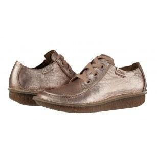 Дамски кожени обувки на платформа Clarks розов металик Funny Dream