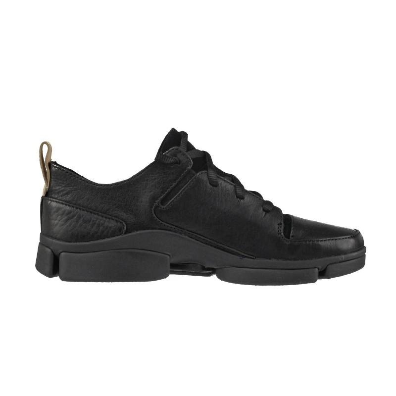 Дамски спортни обувки от естествена кожа Clarks Tri Turn черни