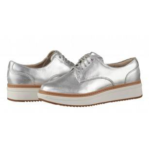 Дамски обувки на платформа Clarks Теadale Rhea естествена кожа сребристи