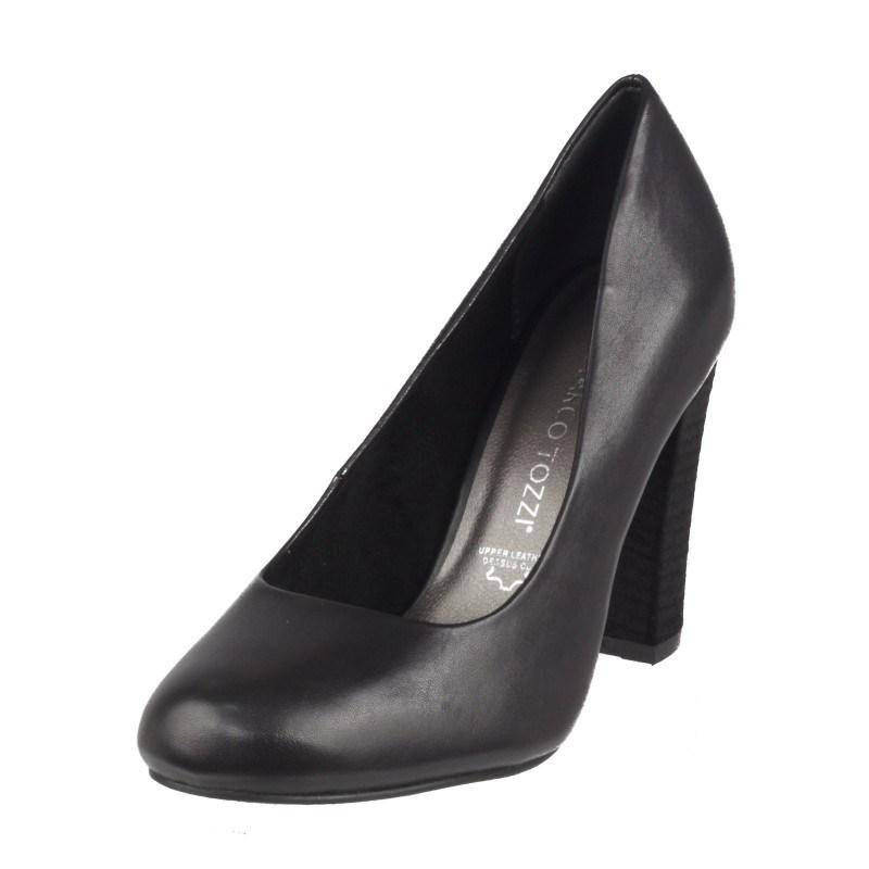 Дамски елегантни обувки на висок ток Marco Tozzi естествена кожа черни