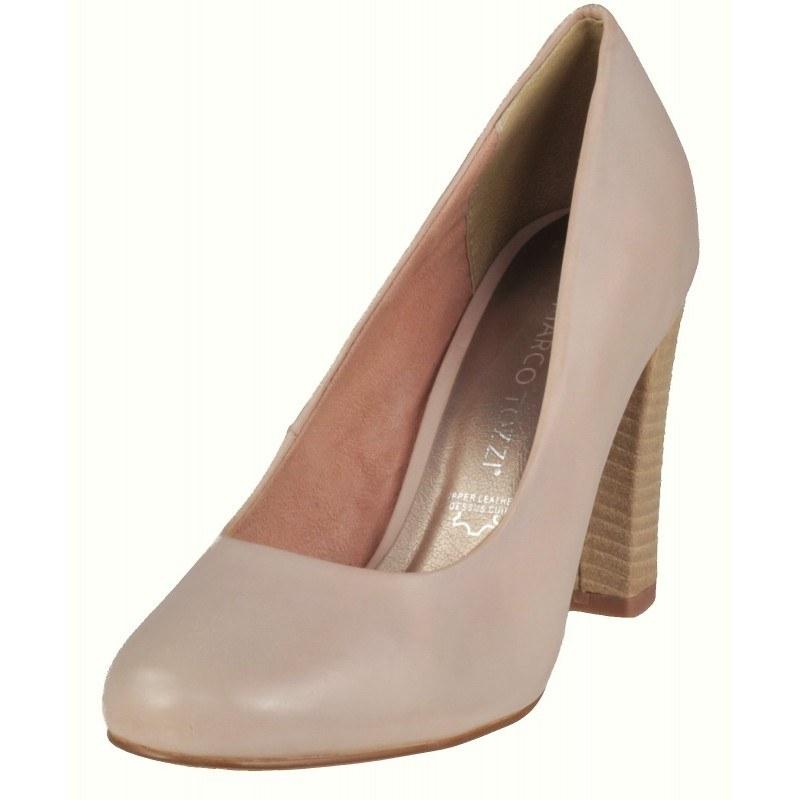 Дамски елегантни обувки на висок ток Marco Tozzi естествена кожа розови