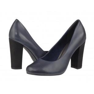 Дамски елегантни обувки на висок ток Marco Tozzi естествена кожа сини