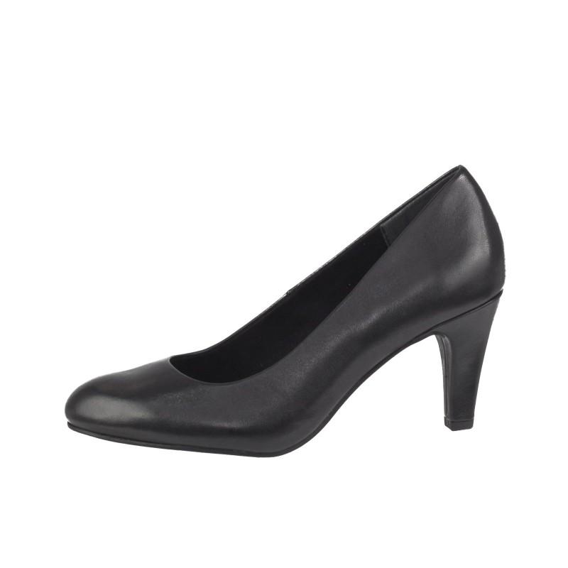 Дамски елегантни обувки на ток Marco Tozzi естествена кожа черни