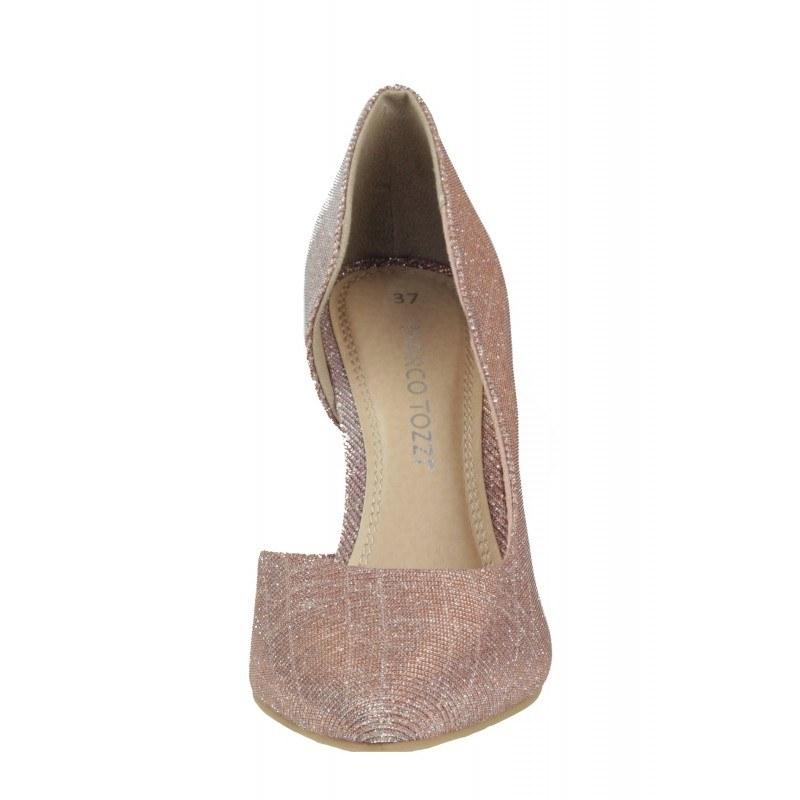 Дамски елегантни обувки на висок ток Marco Tozzi розов металик